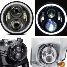 7Inch Round 50W LED Black Halo Headlight With DRL For Harley Davidson Motorcycle