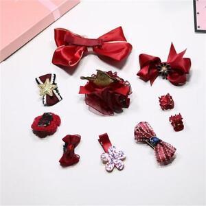 1Set Mixed Toddler Girl Hair Clip Ribbon Bow Baby Kids Satin Bowknot Headband BS