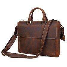"Leather briefcase-Document case-Laptop bags-Slim-14"""
