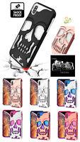 Phone Case For Apple iPhone XR SKULL Skeleton Hybrid Armor Rubber Rugged Cover