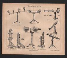 Lithografie 1878: Polarisation des Lichts. Saccharometer von Soleil. Polarisatio