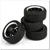 4 x 1:10 On-Road Auto Kunststoff Reifen Sets mit Schwarz 7 Speichen Felgen