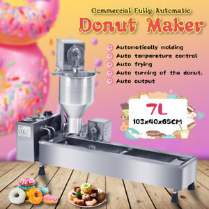 Commercial Automatic Donut Fryer Maker Machine Wide Oil Tank W/ 3 Sets