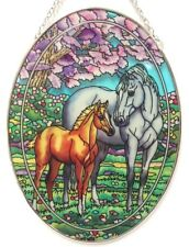 "HORSE SPRING'S GIFT AMIA STAINED GLASS SUNCATCHER 6.5"" X 9"" OVAL  42425"