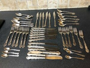 54 Pieces Oneida Silver Plate Dover Pattern Cutlery