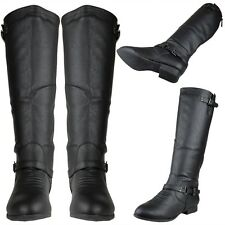 Womens Block Heel Knee High Riding Boots w/ Ankle Strap Black Size 5.5-10