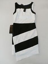 Bebe Women's Asymmetrical Hem Colorblock Dress Black/White Size Small NWT $99