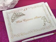 Mis Quince Anos Guest Book Libro De Firmas Personalized Monogram Letter Tiara