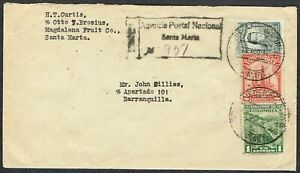 1934 Colombia Registered Santa Marta to Barranquilla with Boxed Handstamp