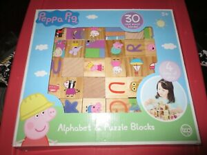 Peppa Pig tcg 30 piece 4-sided real wood Alphabet & puzzle set wooden blocks