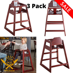 (3 Pack) Commercial Restaurant Wood Ready-to-Assemble High Chair for Kids Solid