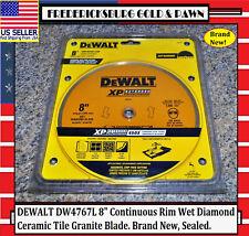 """Msrp $56 Dewalt Dw4767L 8"""" Continuous Rim Wet Diamond Ceramic Tile Granite Blade"""