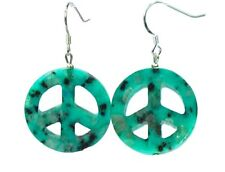 Beautiful Earrings in lotus-jaspis Peace Sign 925 Silver Hook