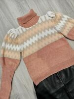 Puff shoulder roll neck chunky chevron stripe gold zigzag mutton sleeve jumper