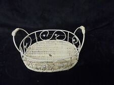 "Adorable Cream Metal & Wicker With Handles Bath Or Bedroom Caddie 7"" L x 2"" H"
