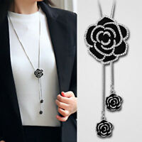 Fashion Women Black Rose Flower Long Necklace Sweater Chain Crystal Jewelry Gift