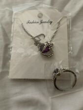 And Matching Ring Sz 9 Set Heart Necklace With Large Purple Gem