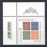 Bund/BRD 3412  Ecke 1 EAN Code (70)  -Tag der Briefmarke-  ** Postfrisch 2018