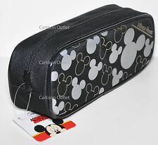 MICKEY MOUSE PENCIL PEN BAG CASE POUCH COSMETIC DISNEY MAKE UP BAG SILVER EARS