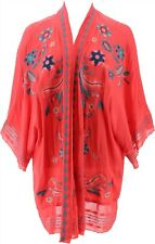 Curations Embroidered Gauze Kimono RED M/L # 638-152
