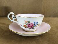 Royal Grafton vintage china tea cup & saucer porcelain coffee pink floral white