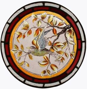 Beautiful Victorian Painted English Lakeland Bird Stained Glass Roundel