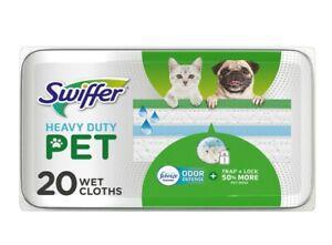 Swiffer Heavy Duty Pet Wet Cloth Pad Refills, Febreze Odor Defense (20 Count)