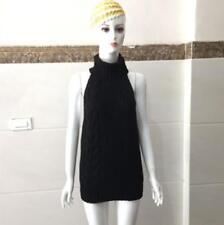 Women Sexy Cosplay Turtleneck Knit Backless Virgin Killer Pullover Sweater Dress
