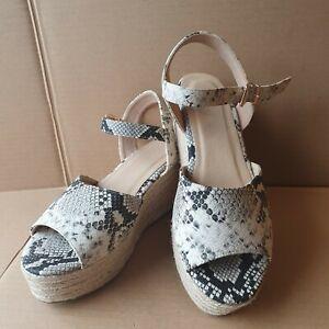 Papaya Wide Fit Sandal Wedge Platform Open Toe Shoes UK 6 / EUR 39