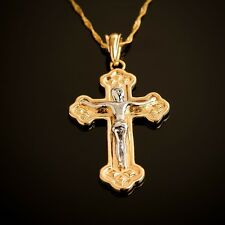 18k Gold Plated latin cross Jesus Christ pendant & necklace