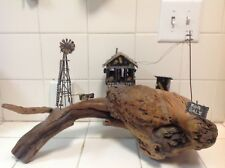 Vintage Driftwood  Scupture With A  Metal Farm House