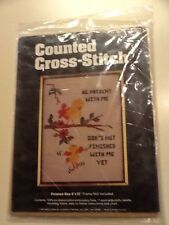 Kelly's Counted Cross Stitch 1603  Be patient With Me Gods Not Done with Me Yet.