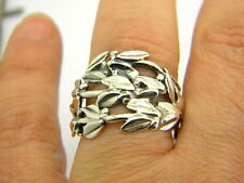 Sterling silver ring olive twigs wide ring size 8 olive branch botanical ring