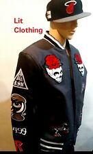 Reason Skull Roses Patches Faux Leather Bomber Gray & Black Varsity Jacket XXL