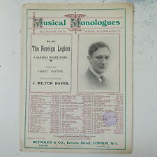 j milton hayes THE FOREIGN LEGION , musical monologue -  piano score , 1912