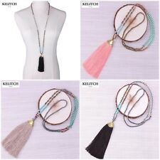 KELITCH Bohemian Handmade Chain Crystal Created Chrysocolla Beads Long Necklace
