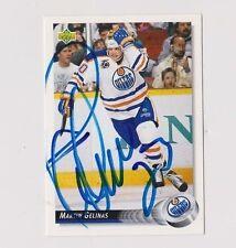 92/93 Upper Deck Martin Gelinas Edmonton Oilers Autographed Hockey Card