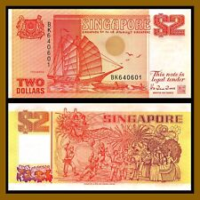 Singapore 2 Dollars, ND 1990 P-27 Sailboat Unc