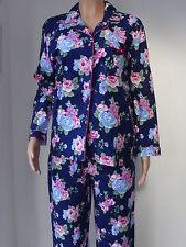 Ladies Brushed Cotton Winter Warm Winceyette Floral Long Pyjama Set Size 10-16