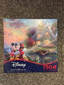 Disney Thomas Kinkade Mickey Minnie Mouse 750  Piece Jigsaw Puzzle Complete
