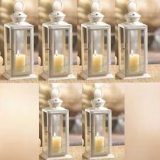 "Lot 6 Starry Cutout Lantern 8"" Small White Candle Holder Wedding Centerpieces"