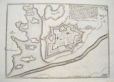 Fuenterrabis Bidasoa Baskenland Spanien Espania  alter Bodenehr Kupferstich 1720