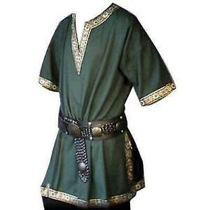 Medieval Renaissance men Viking Saxon short sleeve shirt Halloween Cosplay VICT