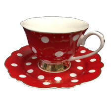 Blue Cadeaux Tea Cup and Saucer - Red with White spot