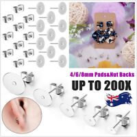 100/200PCS Earring Stud Posts Pads&Nut Backs Silvery Steel DIY Craft 4/6/8mm AU