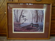 SUPERB DUCK'S UNLIMITED WOOD DUCK #D PRINT BY JOHN S. EBERHART FRAMED & SIGNED