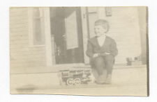 Ca. 1915 Photo CHILD with AMERICAN FRICTION HILL CLIMBER TIN TOY TRAIN ENGINE