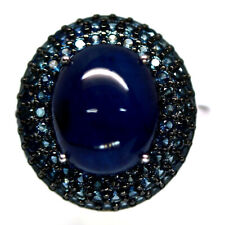 NATURAL BLUE SAPPHIRE RING 925 STERLING SILVER SIZE7