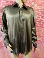 Carlo Pacini Gold metallic disco Mens shirt Long Sleeve shiny Size 17.5 34/35