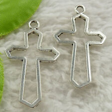184 pieces tibet silver cross charms pendant 37x21mm #4648 free ship